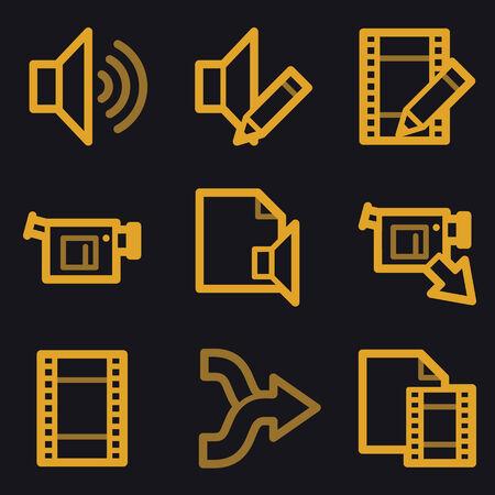 shuffle: Audio video edit web icons, gold line set