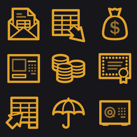Banking web icons, gold line set Vector