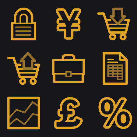 Business web icons, gold line set Vector