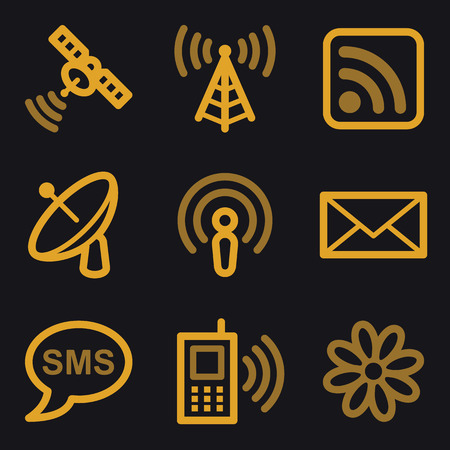 access point: Communication web icons, gold line set