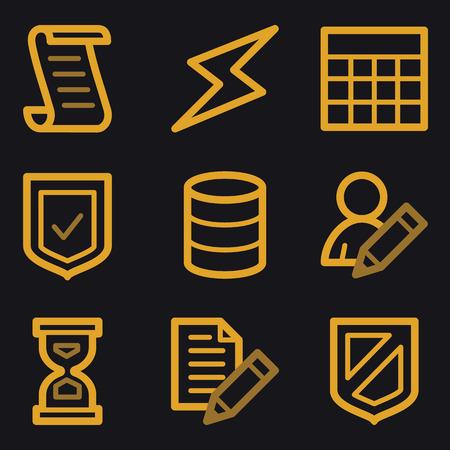 Database storage web icons, gold line set Vector