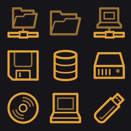 fdd: Drive storage web icons, gold line set Illustration