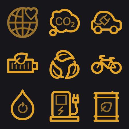 electro world: Eco web icons, gold line set Illustration