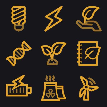 co2: Eco web icons, gold line set Illustration