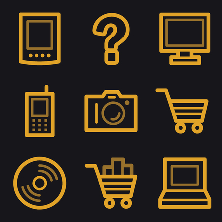 Electronics web icons, gold line set Vector