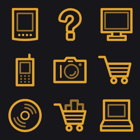 Electronics web icons, gold line set Vector