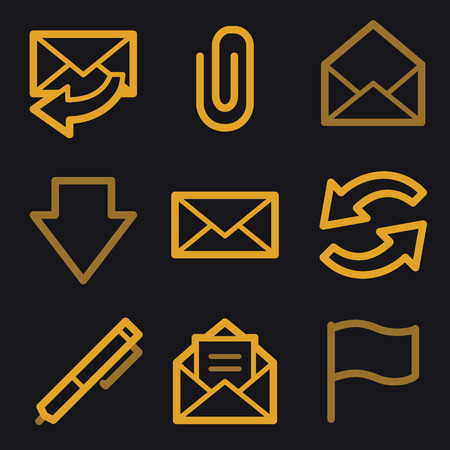E-mail web icons, gold line set Vector