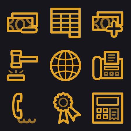 Finance web icons, gold line set Vector
