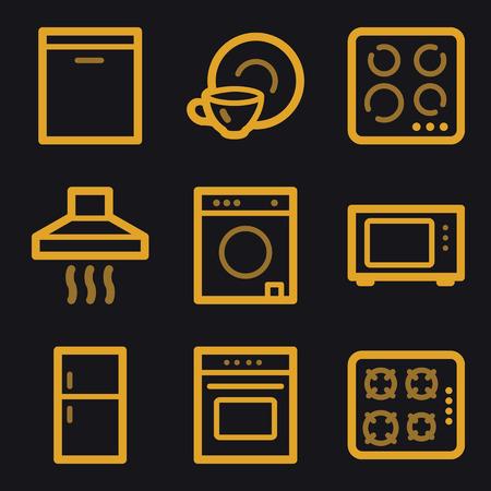 Home appliances web icons, gold line set Vector