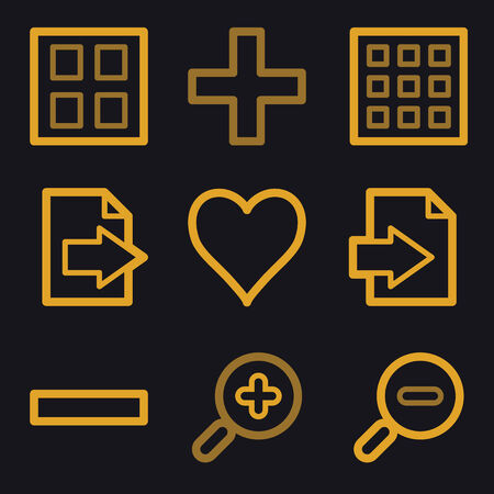 and viewer: Image viewer web icons, gold line set Illustration