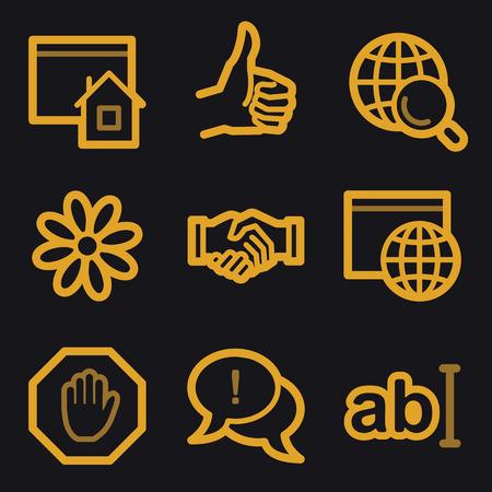 icq: Internet web icons, gold line set Illustration