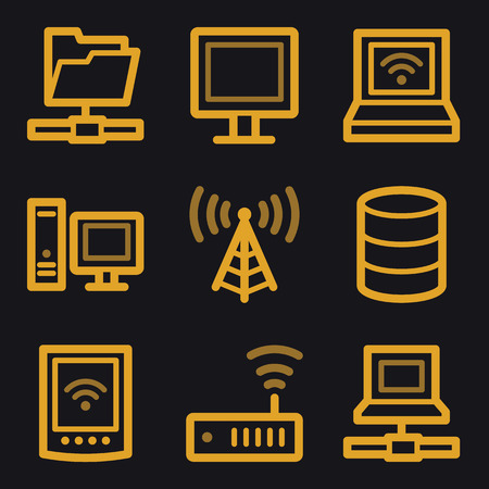 Network web icons, gold line set