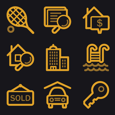 Real estate web icons, gold line set Vector