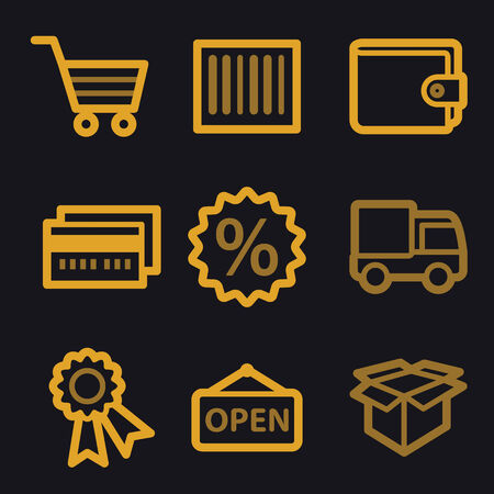 billfold: Shopping web icons, gold line set