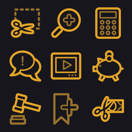 Shopping web icons, gold line set Vector