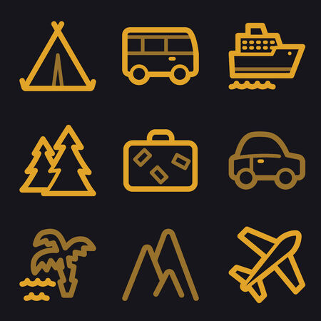 air liner: Travel web icons, gold line set