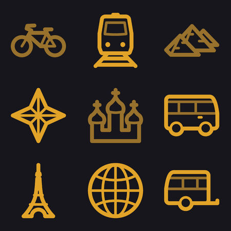 Travel web icons, gold line set Vector