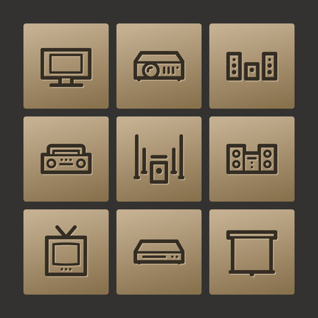 Audio video web icons, buttons set Vector