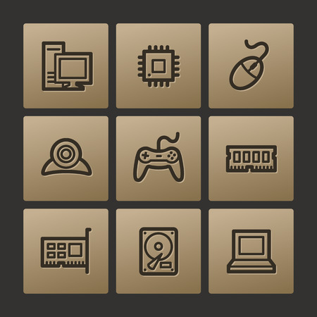 Computer web icons, buttons set