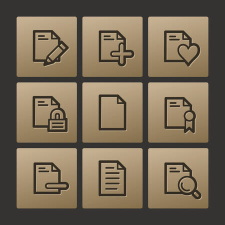 Document web icons, buttons set Vector