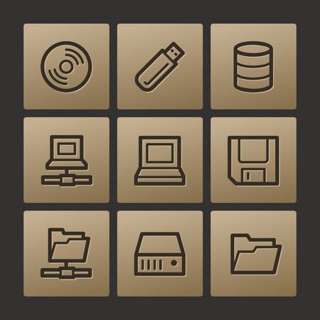 fdd: Drive storage web icons, buttons set