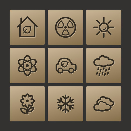 Eco web icons, buttons set Vector