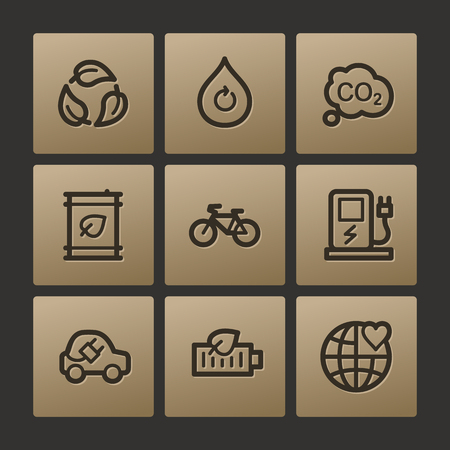 electro world: Eco web icons, buttons set