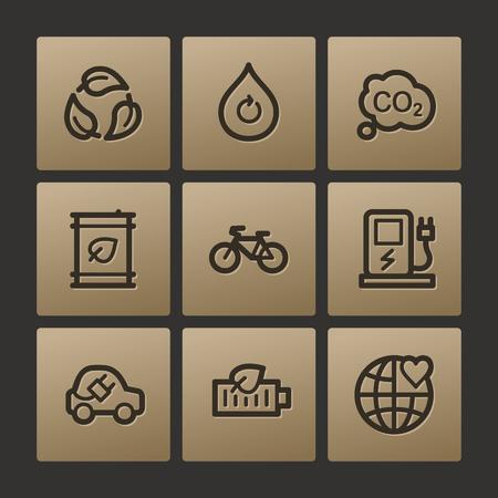 Eco web icons, buttons set