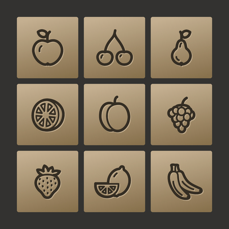 Fruits web icons, buttons set Illustration