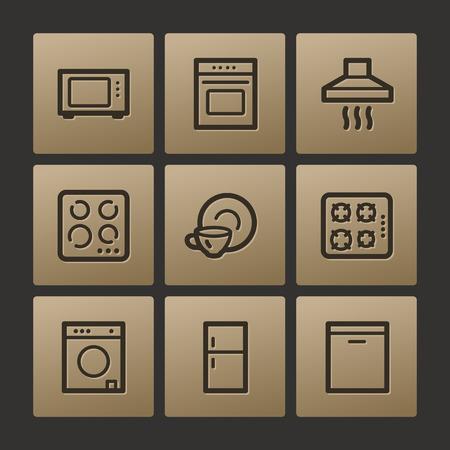 Home appliances web icons, buttons set Vector