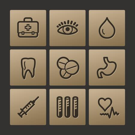 Medicine web icons, buttons set Vector