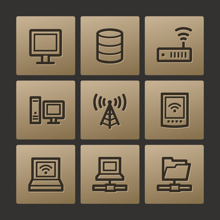 Network web icons, buttons set