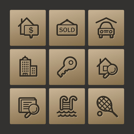 swimming pool home: Real estate web icons, buttons set