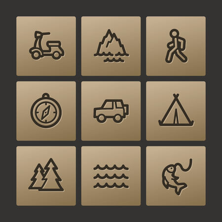 Travel web icons, buttons set Vector