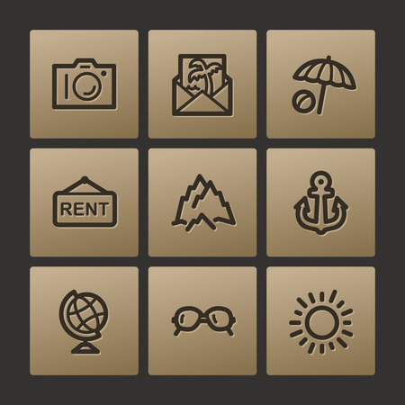 web buttons: Travel web icons, buttons set