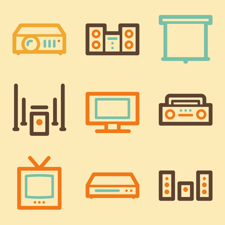Audio video web icons set in retro style  Vector
