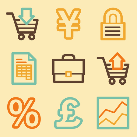 Business web icons set in retro style  Vector