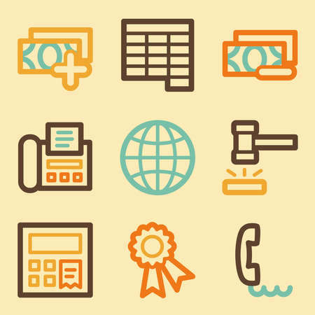 Finance web icons set in retro style  Vector