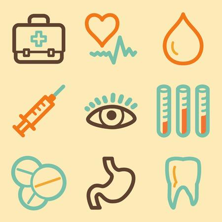 abdomen plano: Medicina Web iconos ubicado en el estilo retro