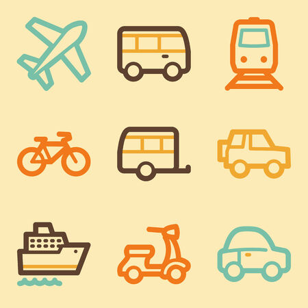 Transport web icons set in retro style  Vector