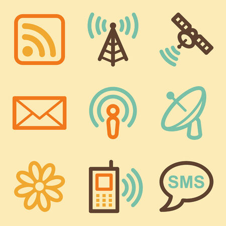 Communication web icons set in retro style  Vector
