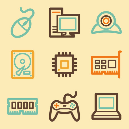 webcamera: Computer web icons set in retro style