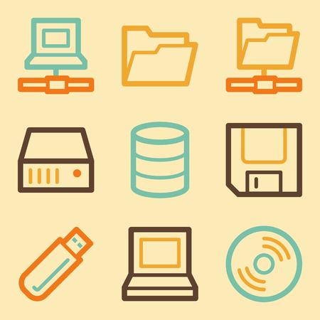 fdd: Drive storage web icons set in retro style