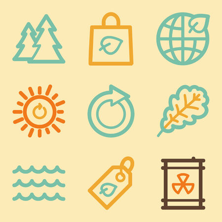 Ecology web icons set in retro style  Vector