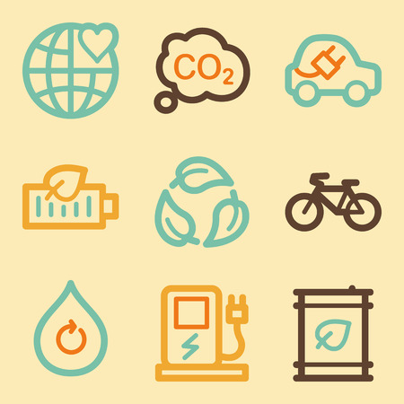 electro world: Ecology web icons set in retro style