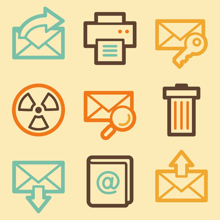 E-mail web icons set in retro style  Vector
