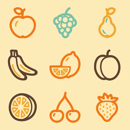 Fruits web icons set in retro style