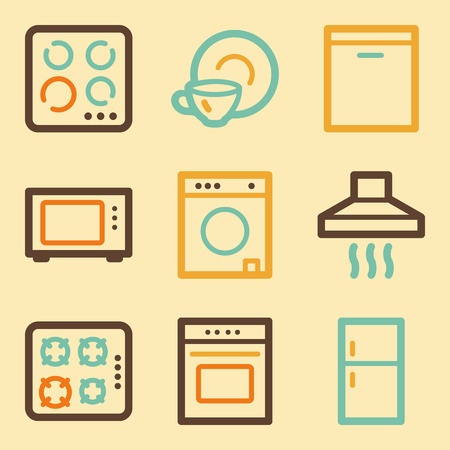 Home appliances web icons set in retro style  Vector