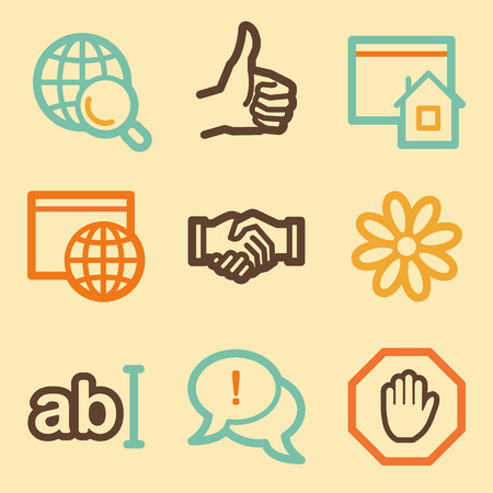 Internet web icons set in retro style  Illustration