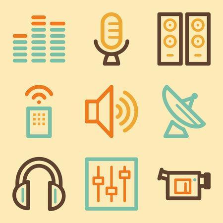 Media web icons set in retro style  Vector